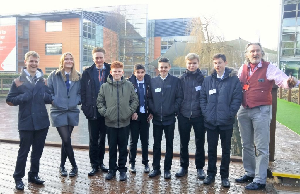 Park House School students on a tour of Vodafone HQ in Newbury with two of their School Buddies.